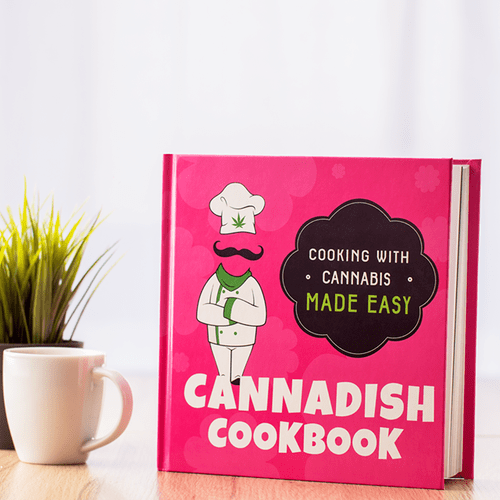Cannabis cookbook stand up postion on kitchen table
