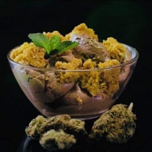 Cannabis chocolate ice cream with vanilla blondies