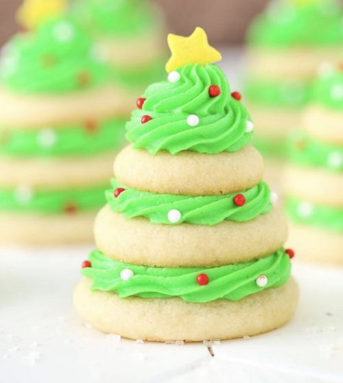 Weed vanilla butter cookies as a christmas tree