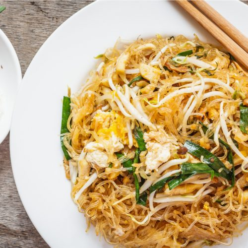 Weed infused pad thai dish with vegetables