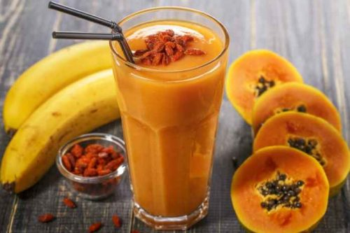 Cannabis papaya smoothie with fresh fruit