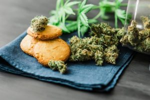 Decarbed cannabis buds with edible cookies