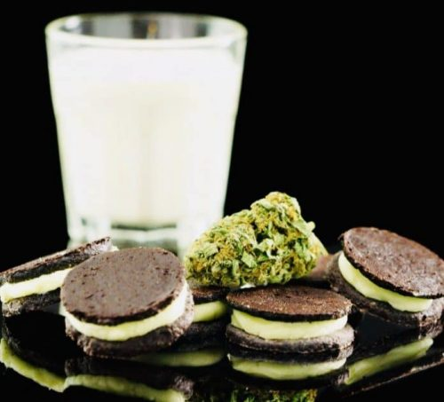 Homemade weed infused Oreo cookies with milk