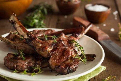 Cannabis infused herb marinated rack of lamb