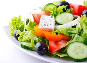 Cannabis greek salad with THC infused olive oil