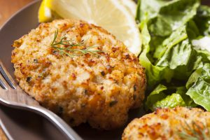 Weed infused crab cakes with marijuana flower