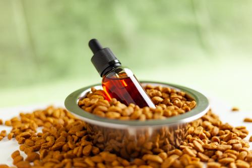 CBD oil in a bowl of pet food.