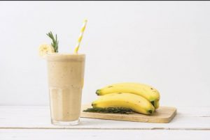 Cannabis infused smoothie with banana and milk