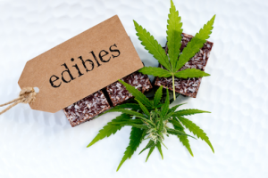 Weed edibles label and cannabis brownies