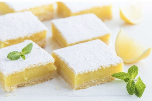 Weed infused lemon bars with powder cannabis sugar
