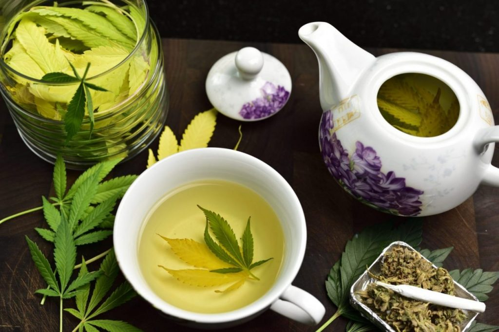 Cannabis Tea pot with marijuana leaf