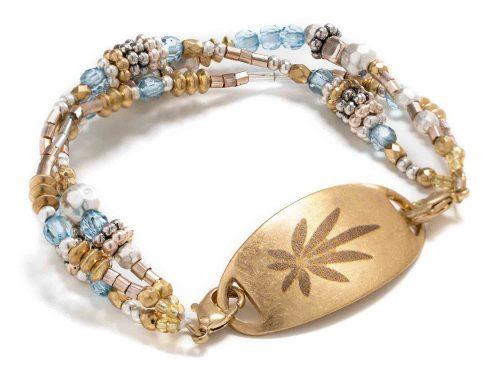 golden plaque marijuana bracelet front