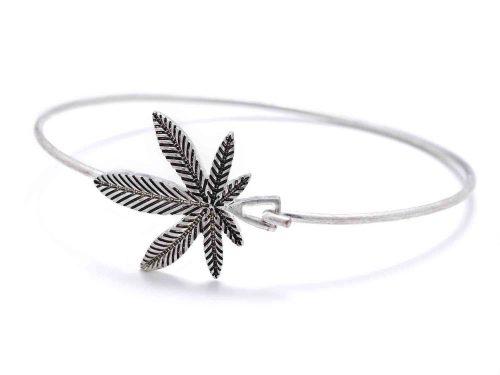 Silver weed bracelet sideways