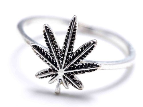 Silver ring with cannabis leaf