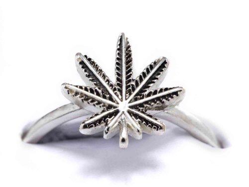 silver cannabis ring closeup