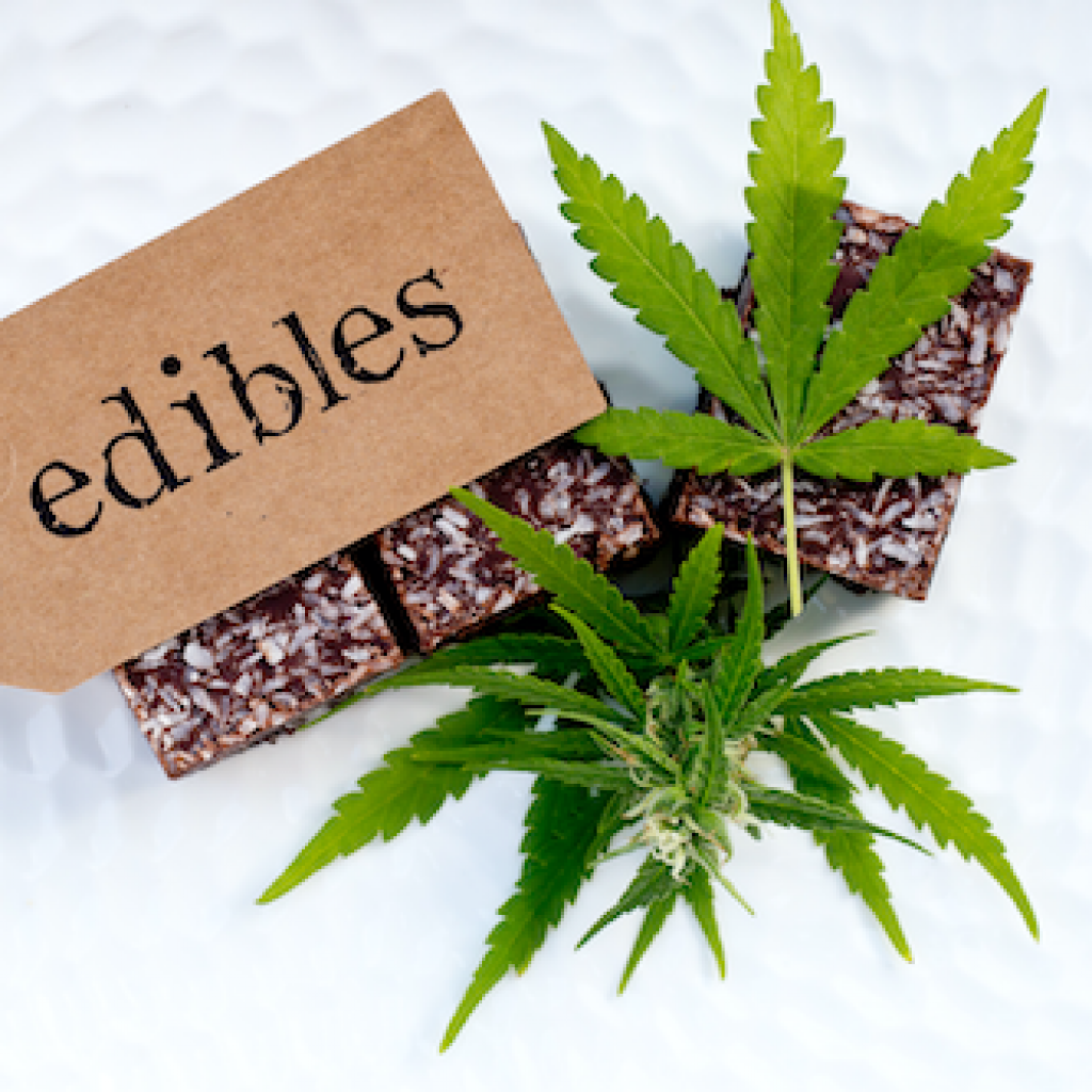 Cannabis edibles with name display featuring sweet weed treat.