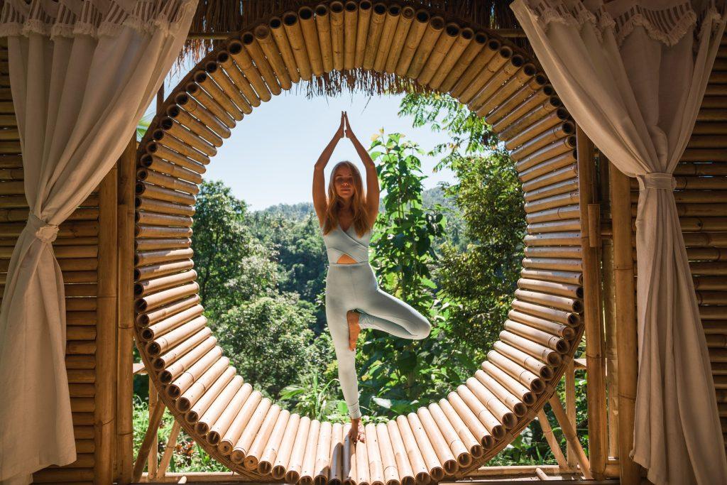 yoga prating at cannabis retreat
