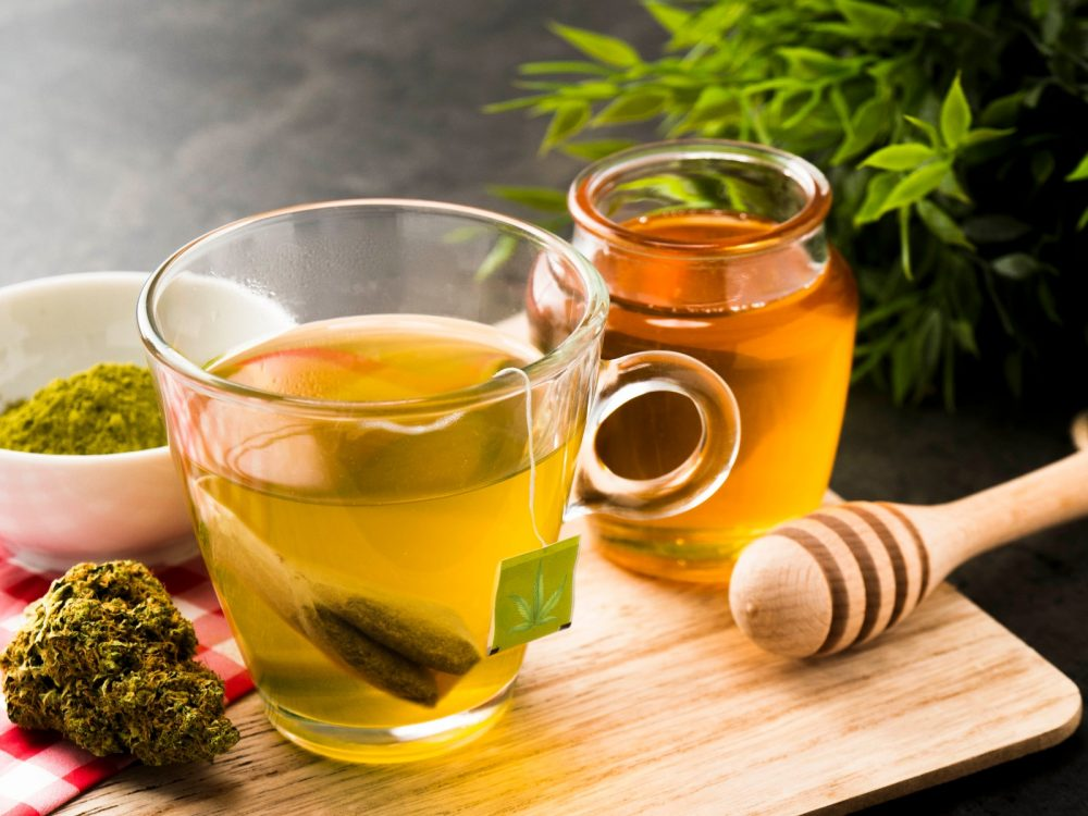 Weed Tea with cannabis buds