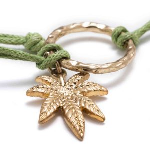Gold Weed Leaf bracelet with green rope