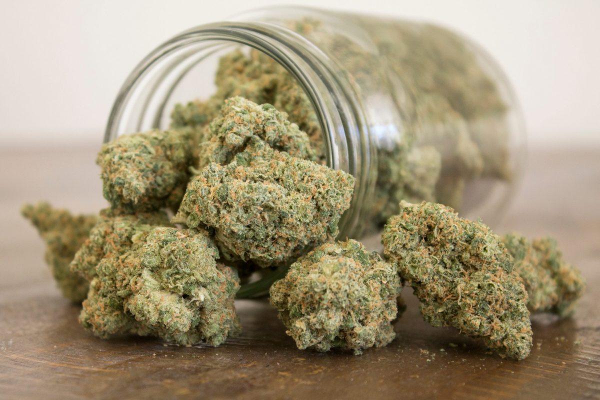 jar of cannabis laying down