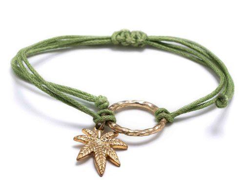 Gold Marijuana Leaf Bracelet with green rope