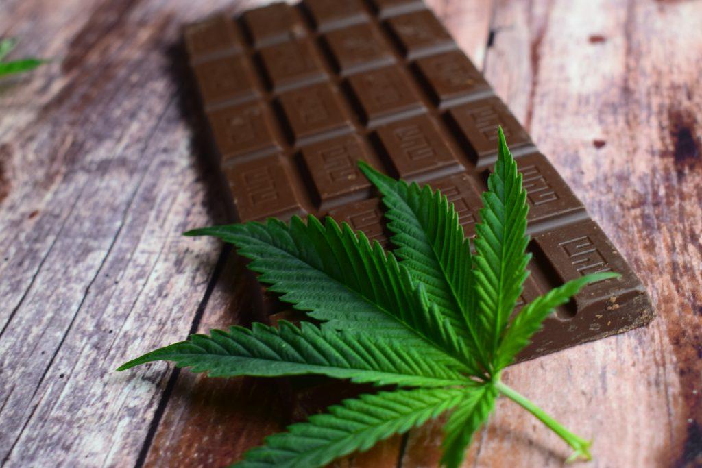cannabis chocolate bar with weed leaf