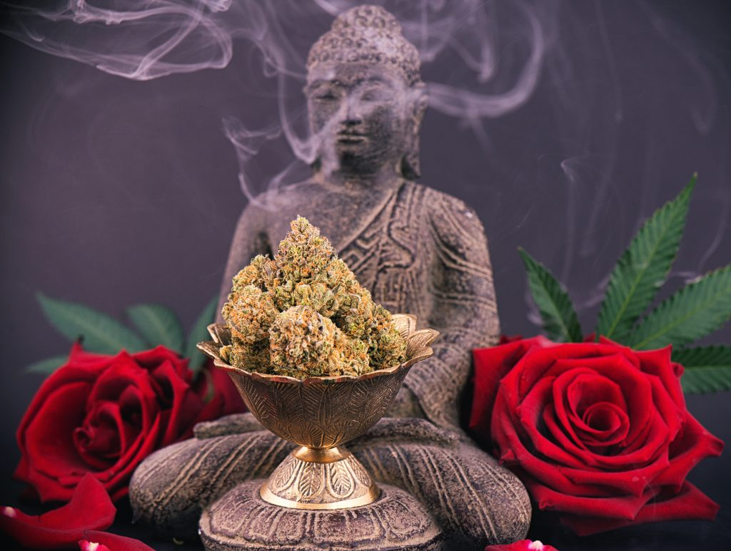 weed meditation with Buddha