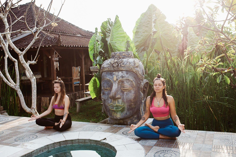women enjoying weed yoga retreat