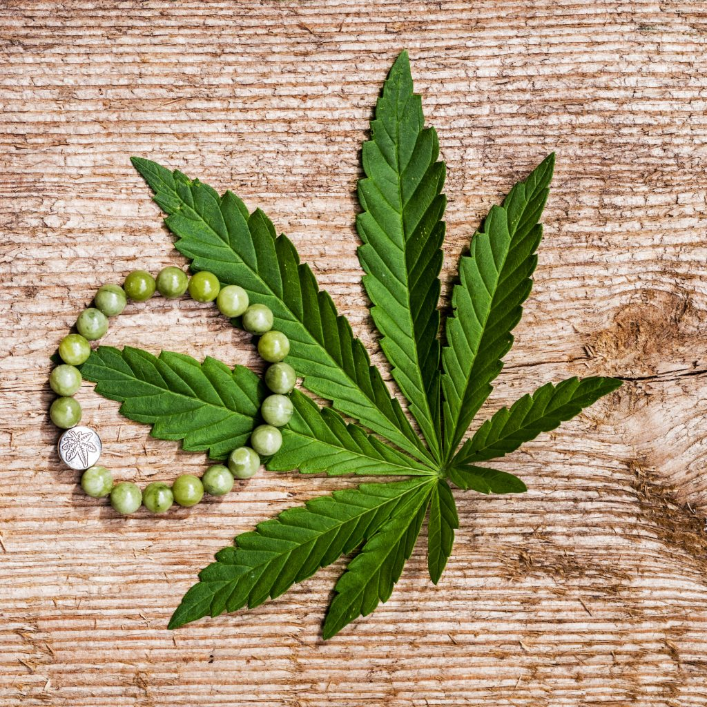 weed leaf with bracelet