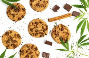 Cannabis cookies recipe with chocolate chip and marijuana leaf
