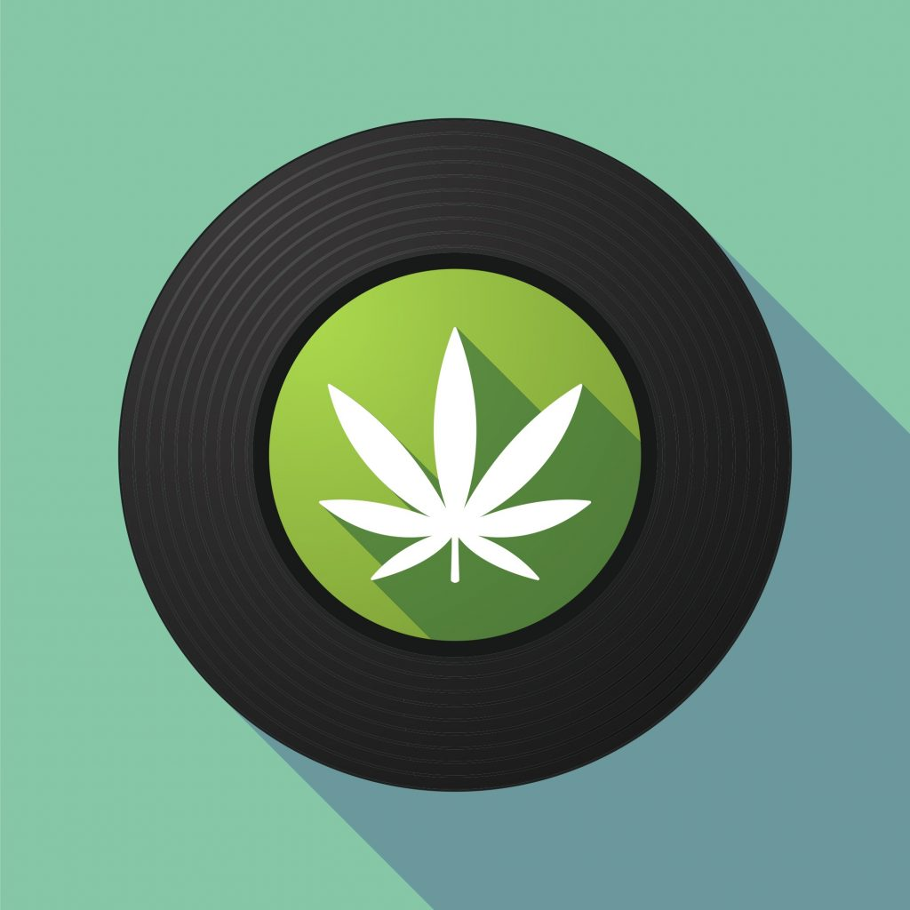 record with weed leaf