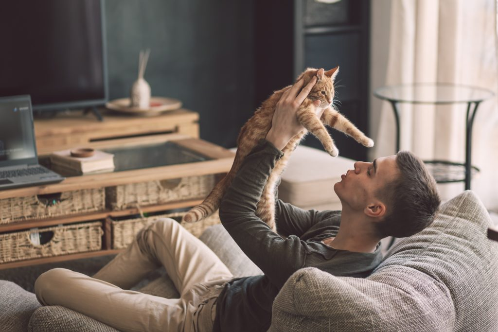 man holding cat for cbd oil for pets
