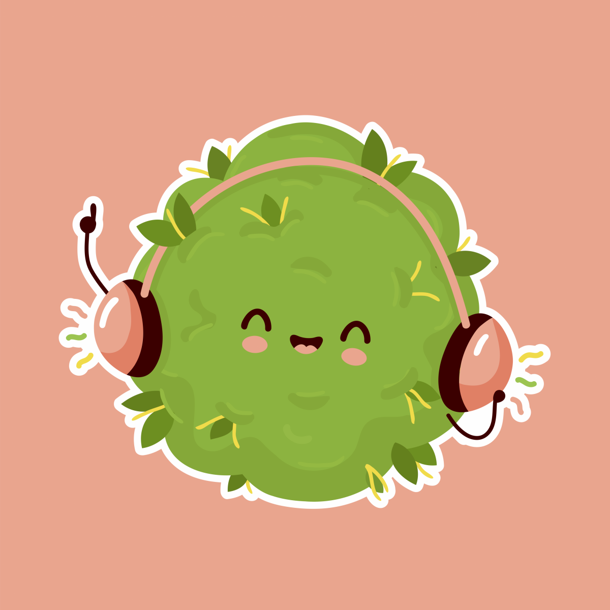 cannabis bud listening to music